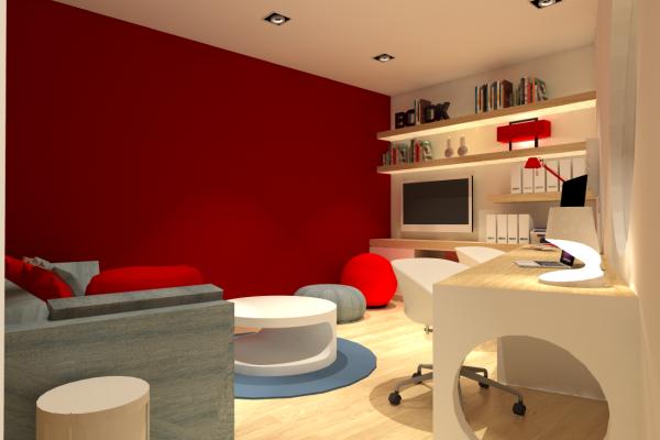 bureau salle de jeu décoration rouge et jeans