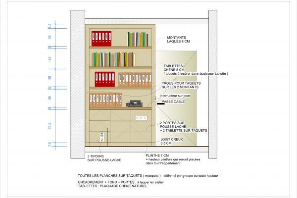 Elevation plan 2D Bibliothèque chêne laquage Alexandra Gilson