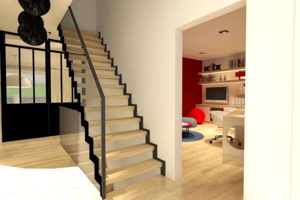 Proposition aménagement hall escalier structure métal noir Alexandra Gilson