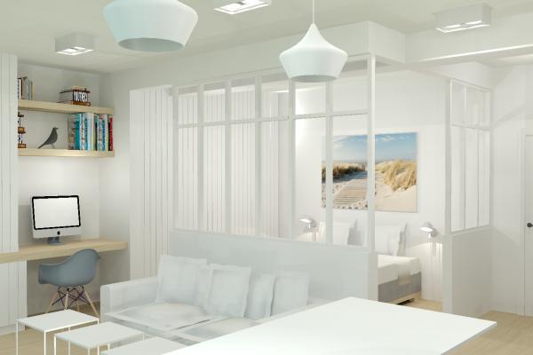 Rendu 3D chambre et salon Alexandra Gilson
