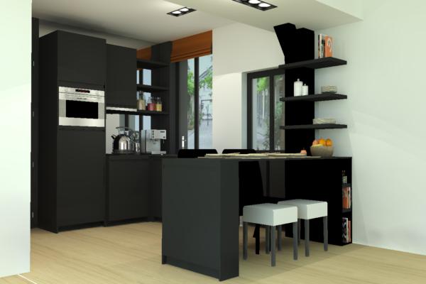 aménagement et décoration cuisine noire paris Alexandra Gilson